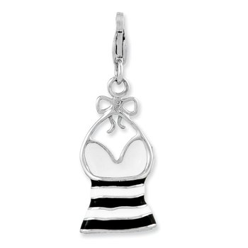 Sterling Silver Enameled 3-D Tank Top w/Lobster Clasp Charm