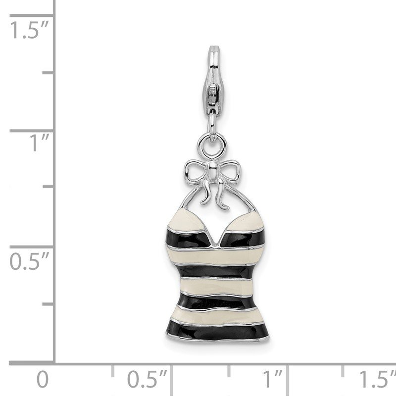 Quality Gold Sterling Silver Amore La Vita Rhodium-pl Enameled 3-D Tank Top Charm