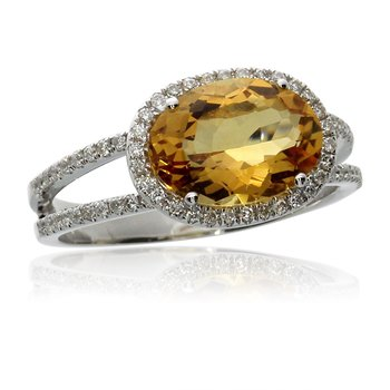 14k White Gold Side Oblong Citrine And Diamond Ring