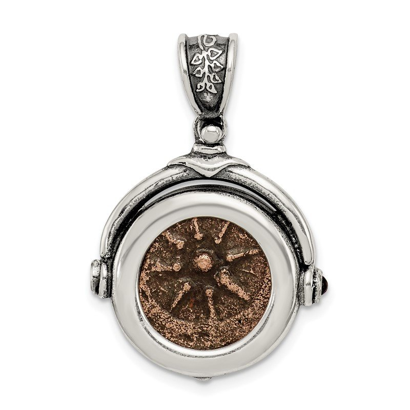 Arizona Diamond Center Collection Sterling Silver & Bronze Antiqued Widows Mite Coin Pendant