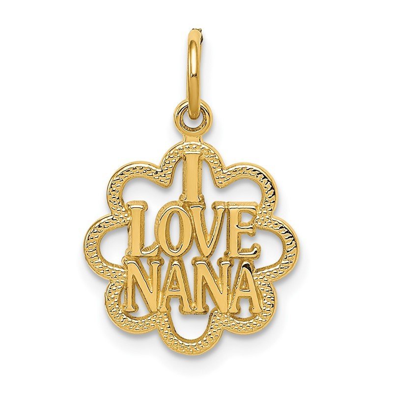 Quality Gold 14k I LOVE NANA Charm