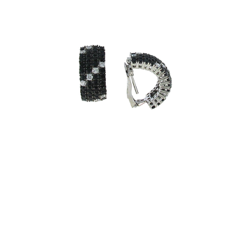 18Kt Gold Earrings With Black Sapphires And White Diamonds
