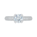 Round Diamond Euro Shank Cathedral Style Engagement Ring In 18K White Gold (Semi-Mount)