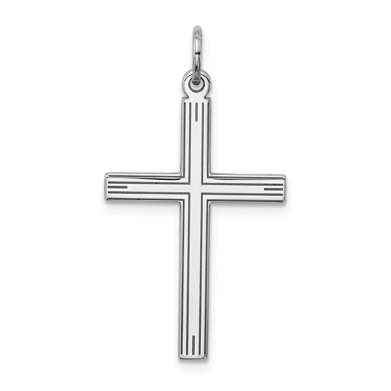 Sterling Silver Rhodium-plated Laser Designed Cross Pendant Religious Charm 925