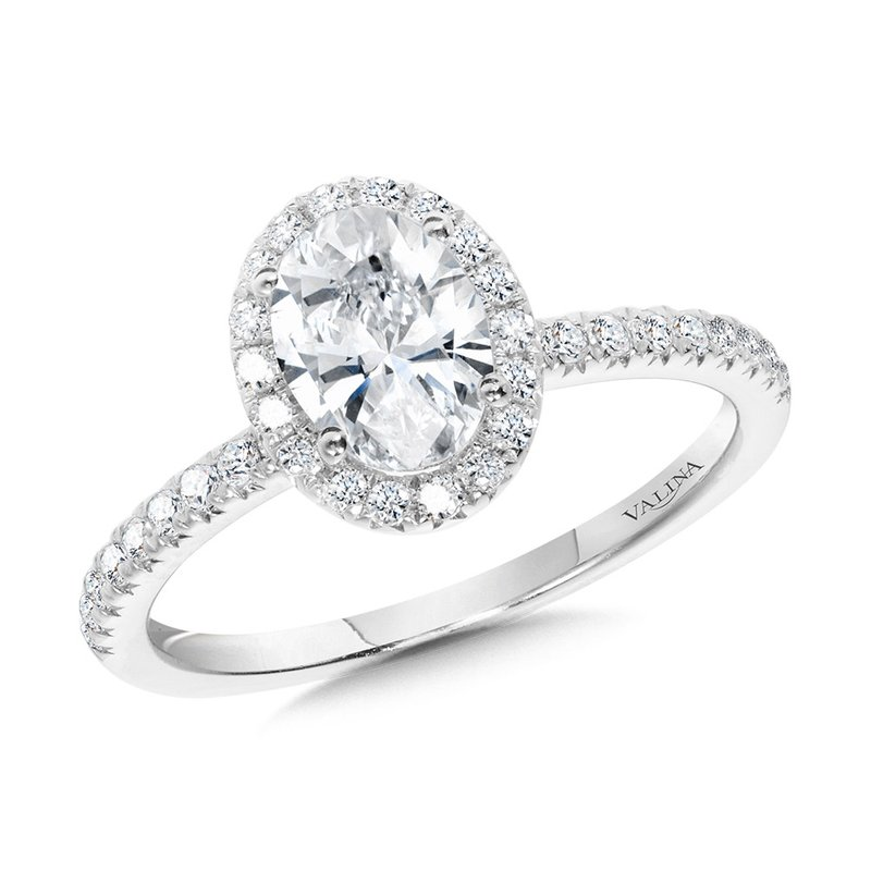 Valina Classic Straight Oval Halo Engagement Ring