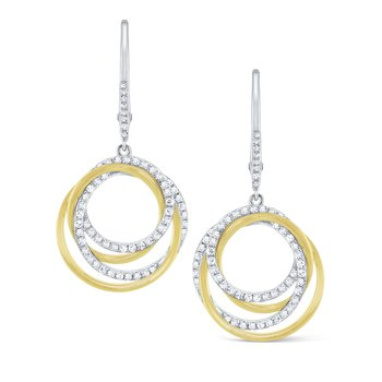 Diamond Intertwined Circle Earrings Set in 14 Kt. Gold