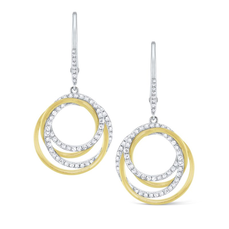 KC Designs Diamond Intertwined Circle Earrings Set in 14 Kt. Gold