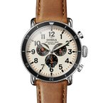 Shinola The Runwell Sport Chrono 48mm Cream Dial Leather Strap Watch