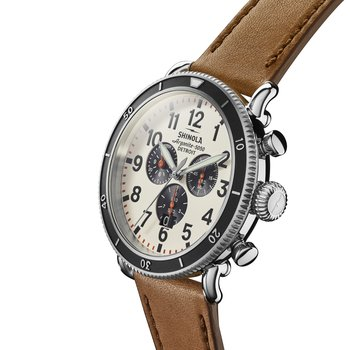 The Runwell Sport Chrono 48mm Cream Dial Leather Strap Watch