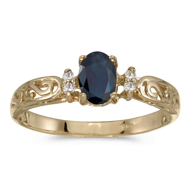 Color Merchants 14k Yellow Gold Oval Sapphire And Diamond Filagree Ring