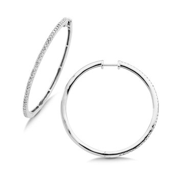 Pave set Slim Diamond Hoops in 14k White Gold (3/4 ct. tw.) GH/SI1-SI2