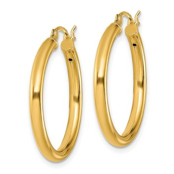 Sterling Silver Gold-Tone Polished 2.5x25mm Hoop Earrings