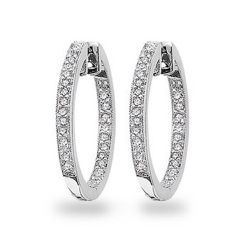 Diamond Inside Outside Hoop Earrings in 14k White Gold with 50 Diamonds weighing .25ct tw.