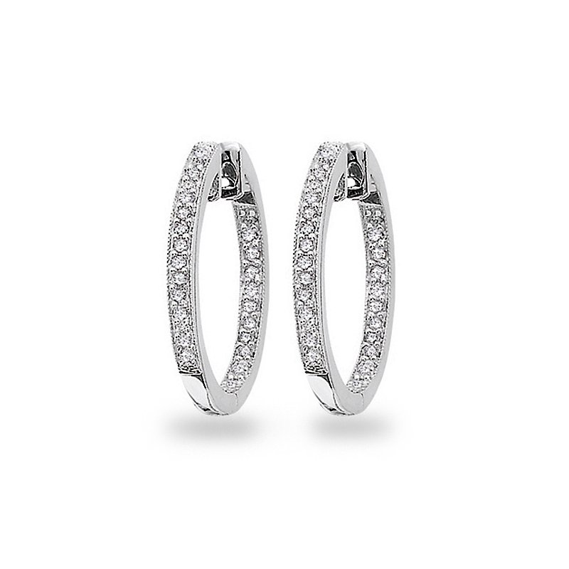 KC Designs Diamond Inside Outside Hoop Earrings in 14k White Gold with 50 Diamonds weighing .25ct tw.