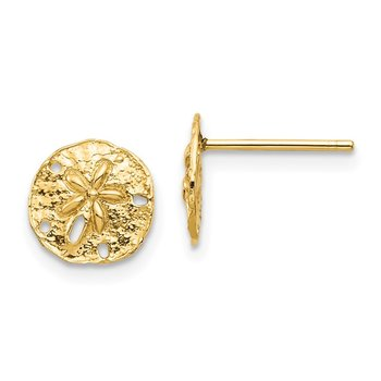 14K Sand Dollar Post Earrings