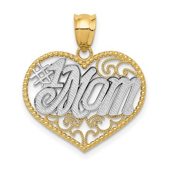 14k and White Rhodium Filigree #1 Mom Heart Pendant