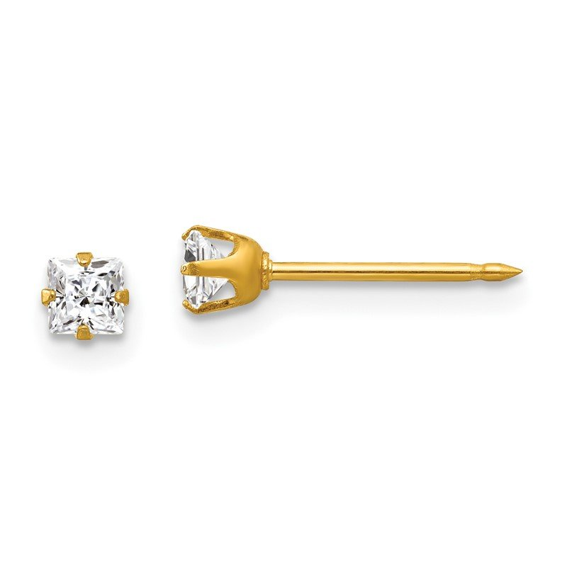 Quality Gold Inverness 14k 3mm Square CZ Post Earrings
