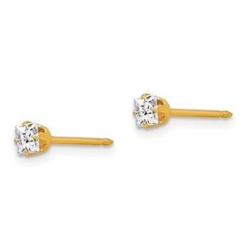 Inverness 14k 3mm Square CZ Post Earrings
