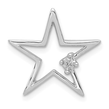 14k White Gold .01ct. Diamond Star Chain Slide