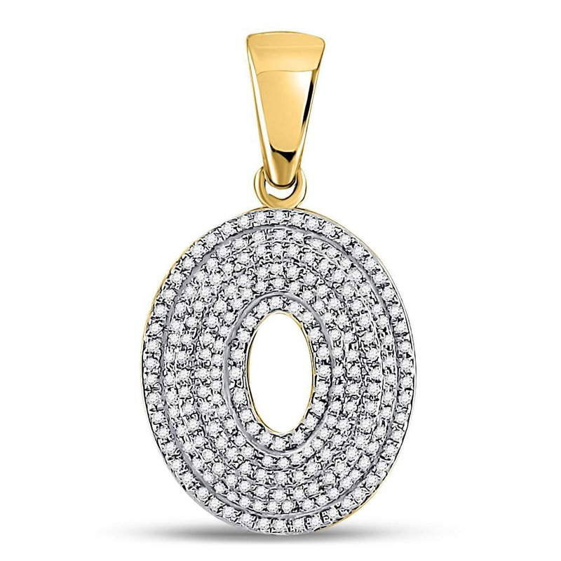 Kingdom Treasures 10kt Yellow Gold Mens Round Diamond Letter O Bubble Initial Charm Pendant 5/8 Cttw