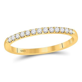 14kt Yellow Gold Womens Round Diamond Single Row Machine-set Wedding Band 1/6 Cttw
