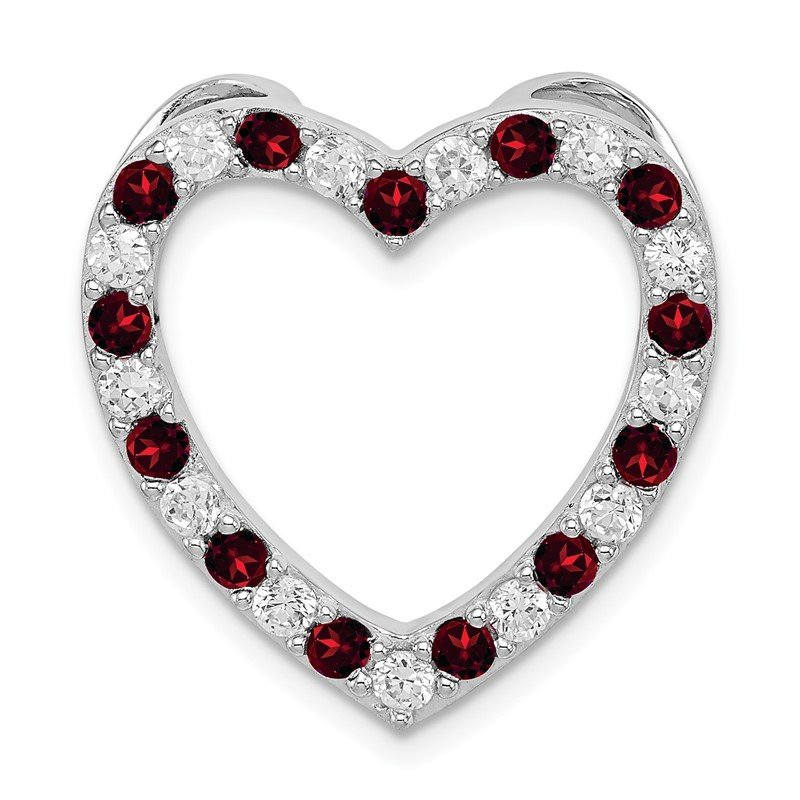 Quality Gold Sterling Silver Rhodium-plated Garnet & CZ Heart Pendant