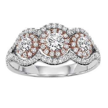14K Diamond Engagement Ring 3/4 ctw with 1/4 ct Center