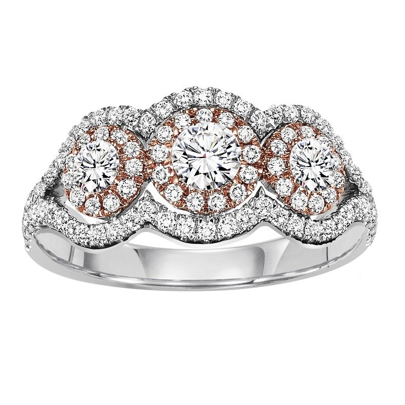 Bridal Bells 14K Diamond Engagement Ring 3/4 ctw with 1/4 ct Center