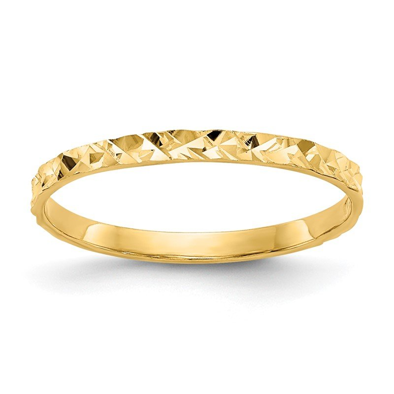 Quality Gold 14K Diamond-cut Design Band Childs Ring