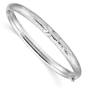 14k 3/16 White Gold Florentine Hinged Baby Bangle