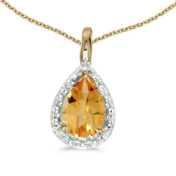14k Yellow Gold Pear Citrine Pendant