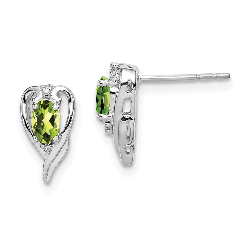 Quality Gold Sterling Silver Rhodium Plated Diamond & Peridot Post Earrings