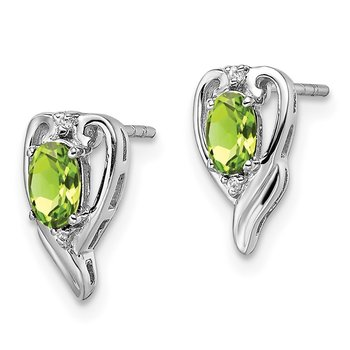 Sterling Silver Rhodium Plated Diamond & Peridot Post Earrings