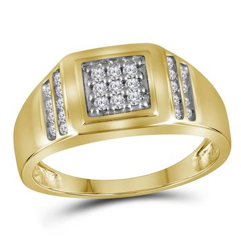 14kt Yellow Gold Mens Round Diamond Square Cluster Ring 1/4 Cttw