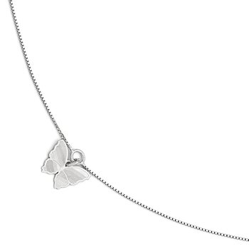 Leslie's SS Polished & Textured Butterfly Anklet w/1in ext w/lobster