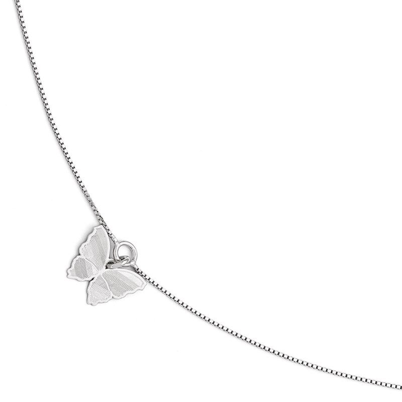 Leslie's Leslie's SS Polished & Textured Butterfly w/1in ext. Anklet