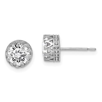 10k Tiara Collection White Gold 7mm Polished CZ Earrings