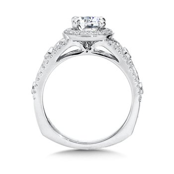 Halo Engagement Ring Mounting in 14K White Gold (.37 ct. tw.)