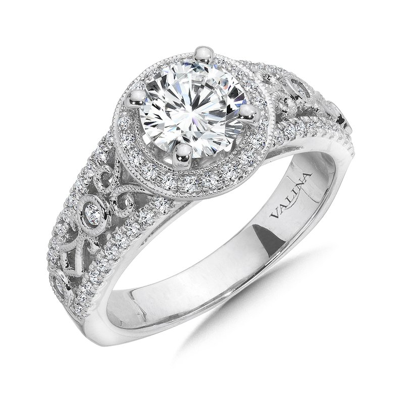 0d9300f4e Pattons Jewelry: Valina Halo Engagement Ring Mounting in 14K White ...