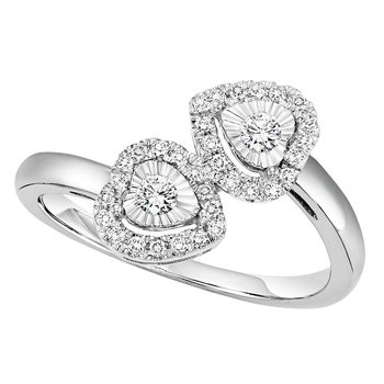 Silver Diamond Ring 1/4 ctw