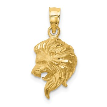 14K Brushed Diamond-cut Lion Head Pendant