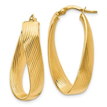 Leslie's 14k Polished Grooved Oval Hoop Earrings
