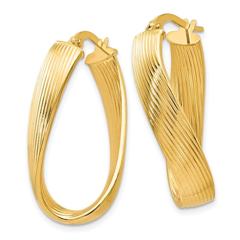 Leslie's Leslie's 14k Polished Grooved Oval Hoop Earrings
