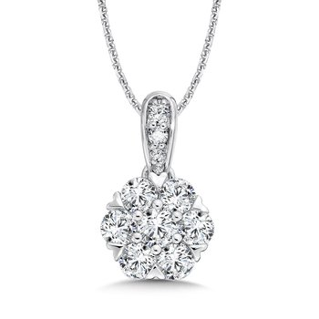 Diamond Pendant with Diamond Bale in 14K White Gold (1/3 ct. tw.)