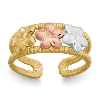14k Two-tone & Rhodium Plumeria Toe Ring