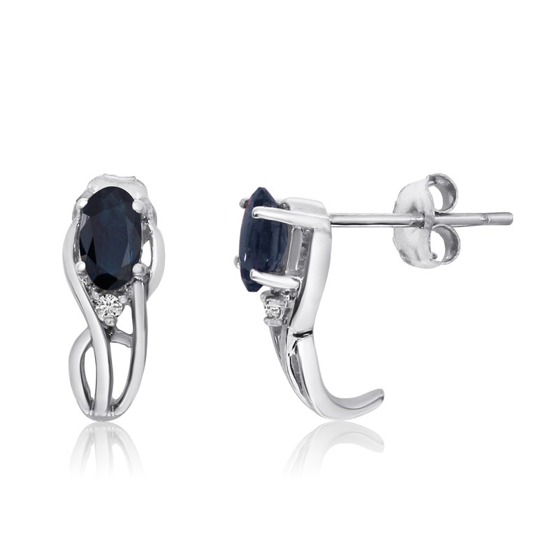 Color Merchants 14K White Gold Curved Sapphire and Diamond Earrings