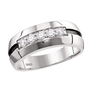 10kt White Gold Mens Round Diamond Wedding Black Groove Band Ring 1/2 Cttw