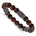 Chisel Stainless Steel Stretch Polished and Antiqued Beads Rosewood Bracelet