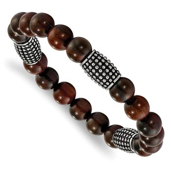Stainless Steel Stretch Polished and Antiqued Beads Rosewood Bracelet