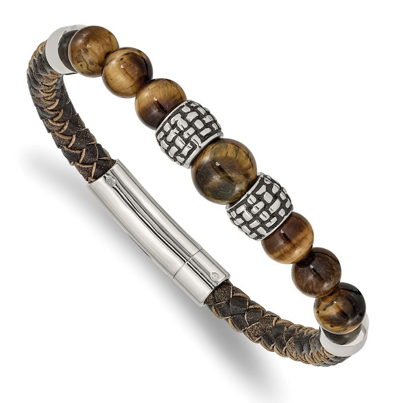 Chisel Stainless Steel Antiqued and Polished Tiger's Eye Leather 8.5in Bracelet